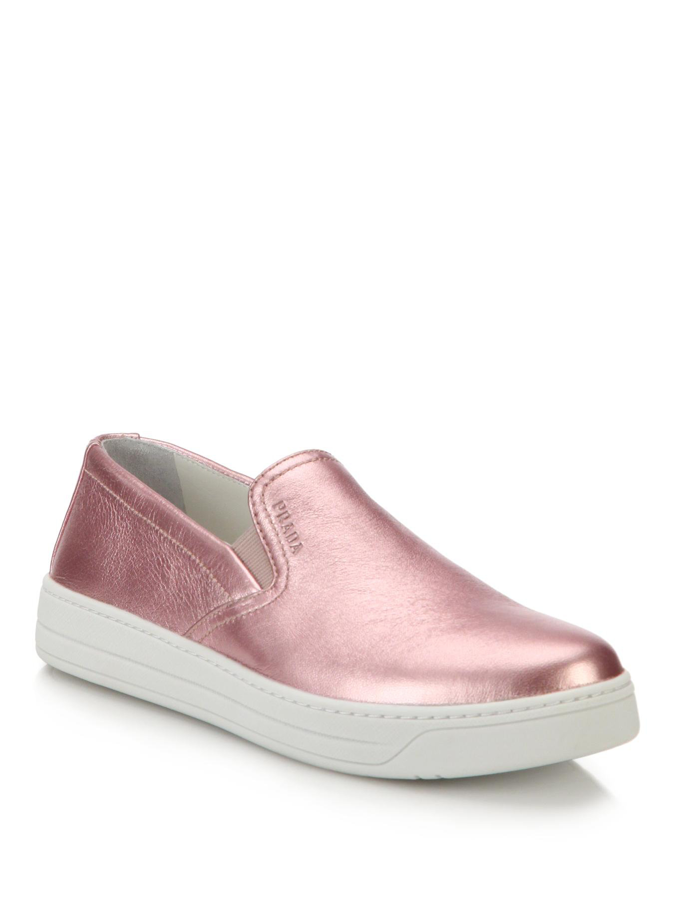 prada black bag price - Prada Metallic Leather Skate Shoes in Pink | Lyst