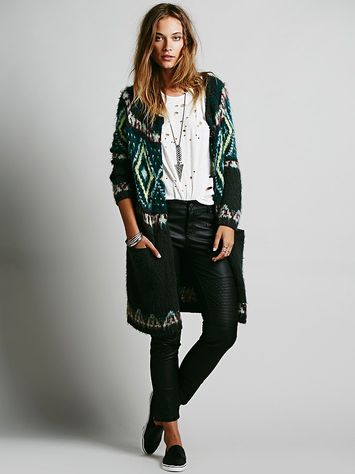 Free people Frosted Fairisle Cardigan in Green | Lyst