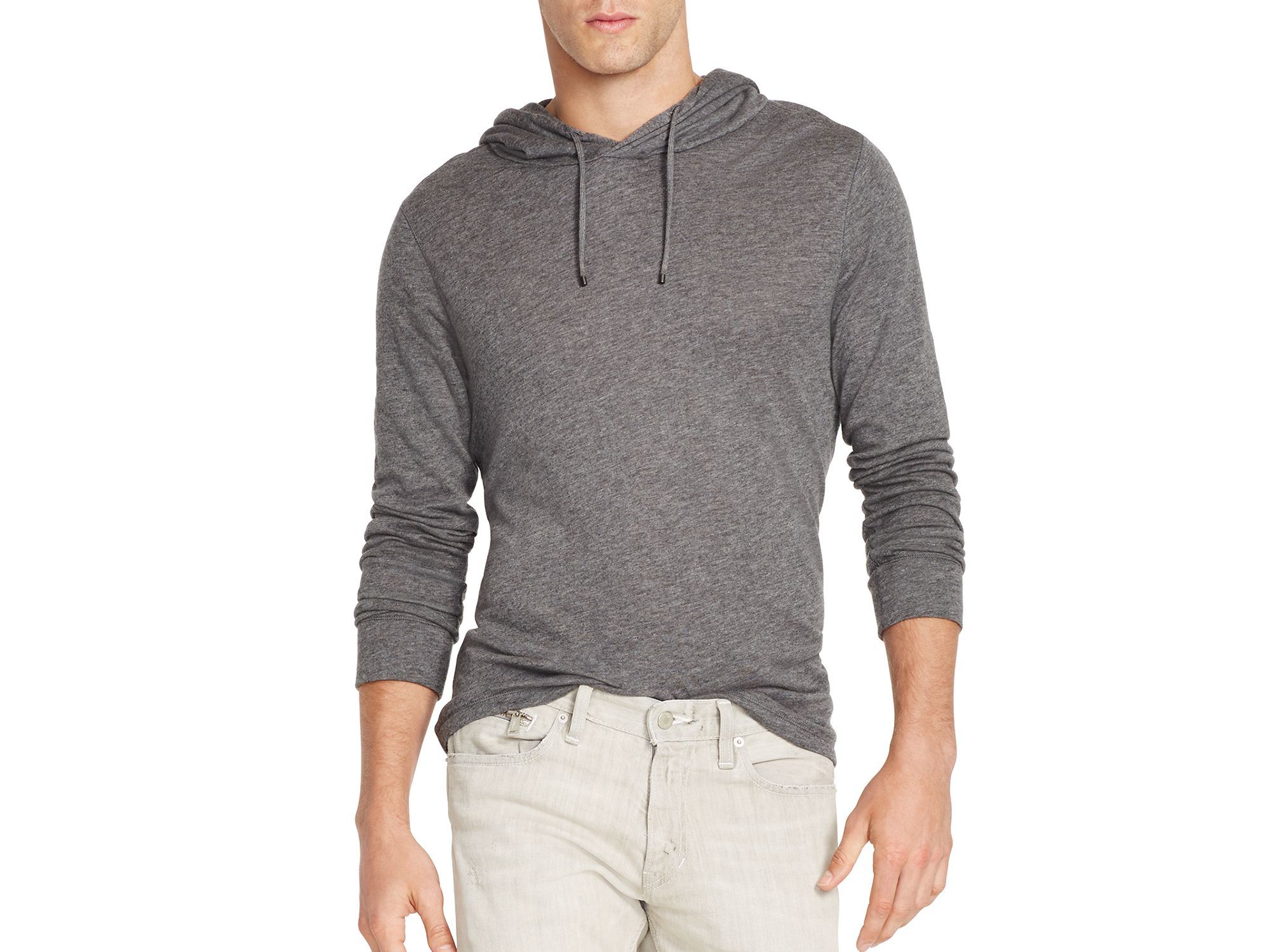 polo ralph lauren pima duofold hoodie in gray for men lyst. Black Bedroom Furniture Sets. Home Design Ideas