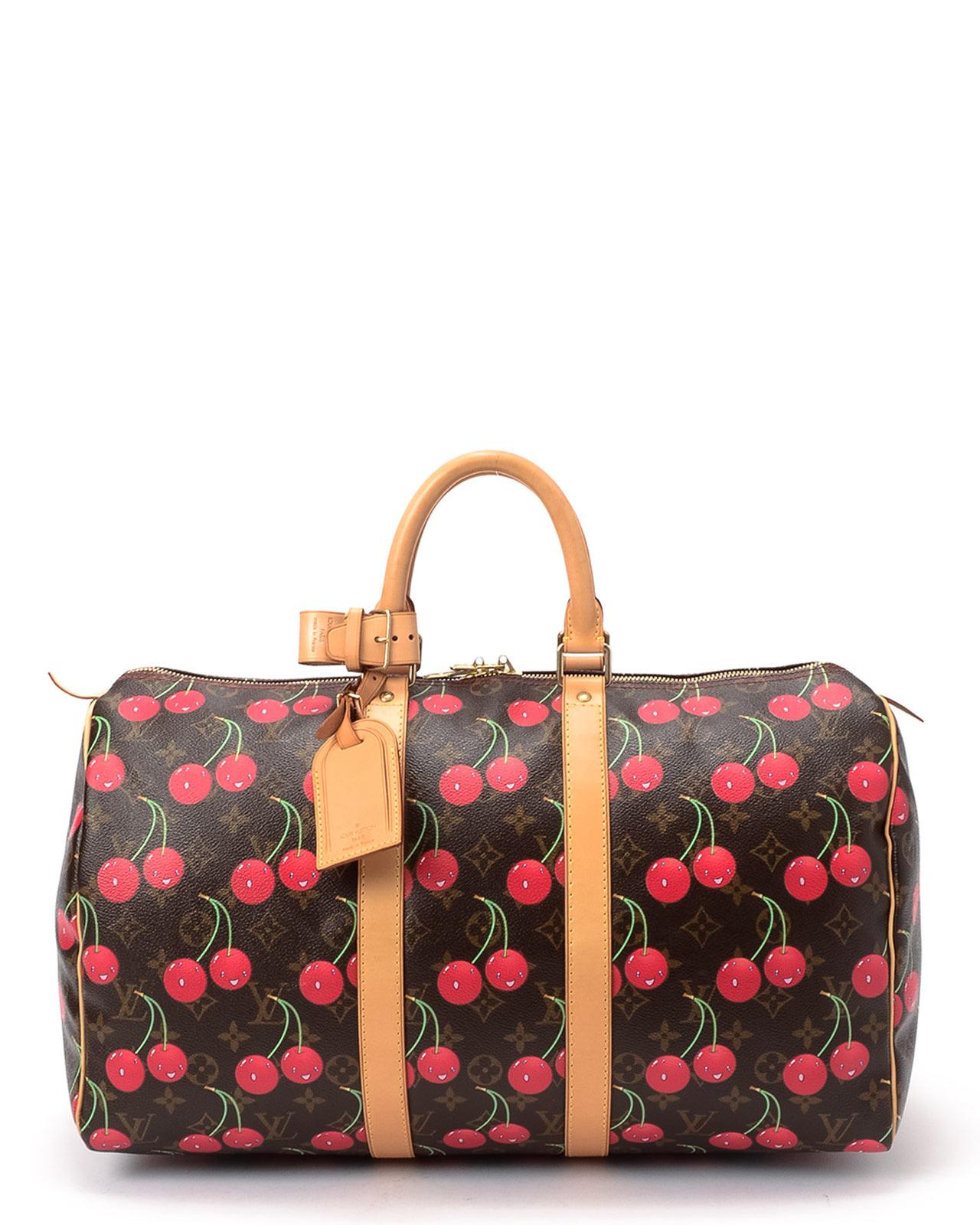 louis vuitton monogram cherry keepall 45 handbag in pink