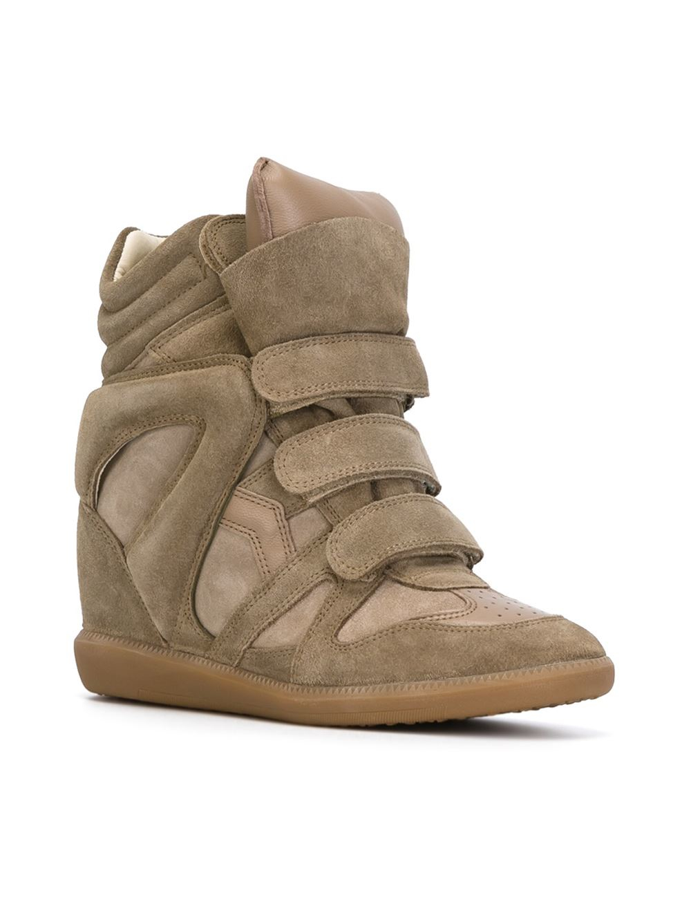 isabel marant toile 39 beckett 39 hi top sneakers in beige green lyst. Black Bedroom Furniture Sets. Home Design Ideas