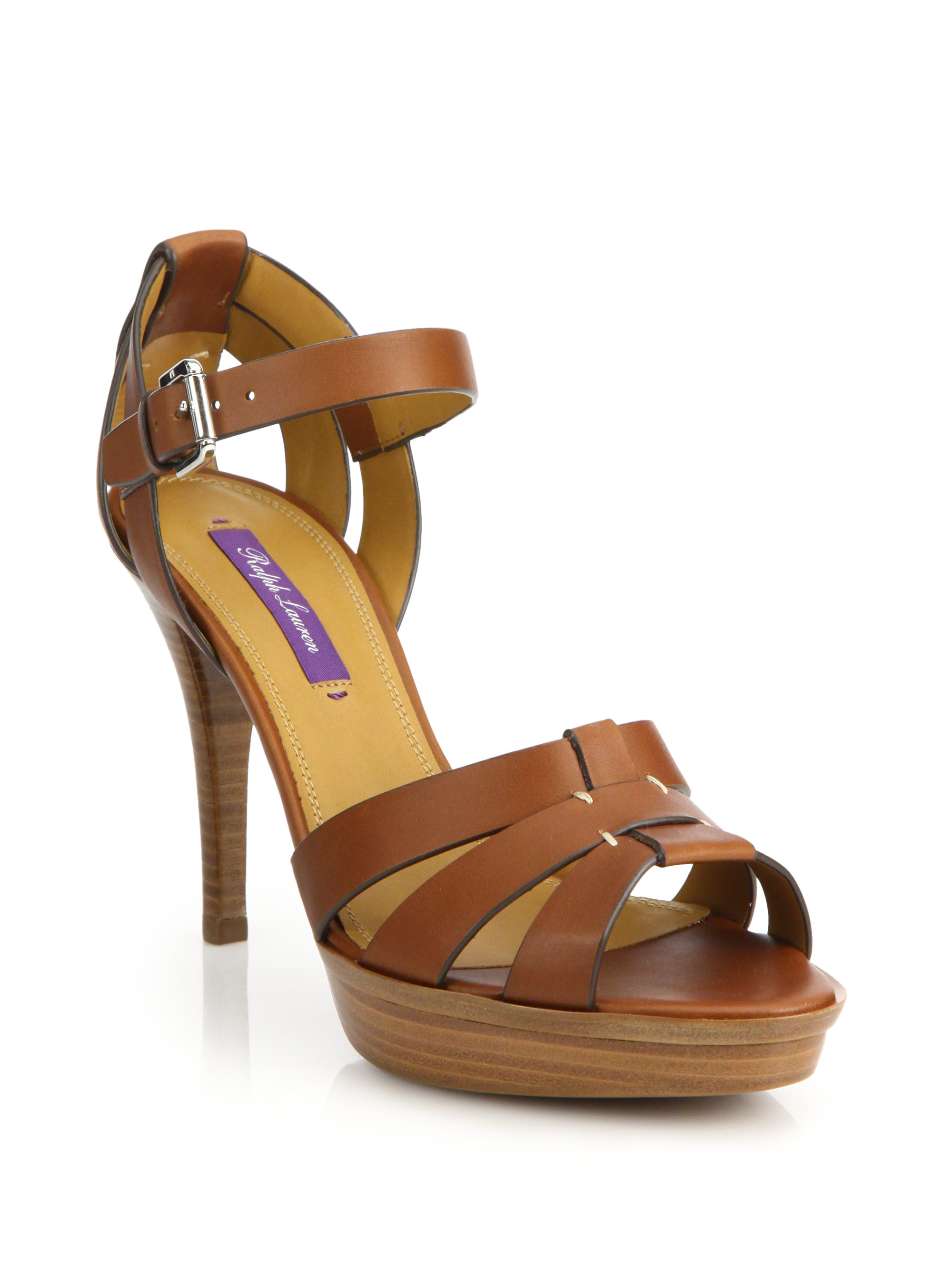 Lyst Pink Pony Jensen Stacked Heel Leather Sandals In Brown
