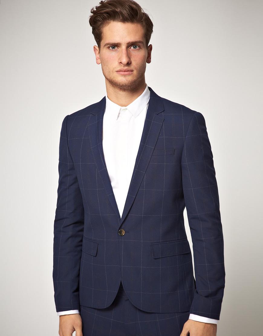 Asos Slim Fit Check Suit Jacket in Blue in Blue for Men | Lyst