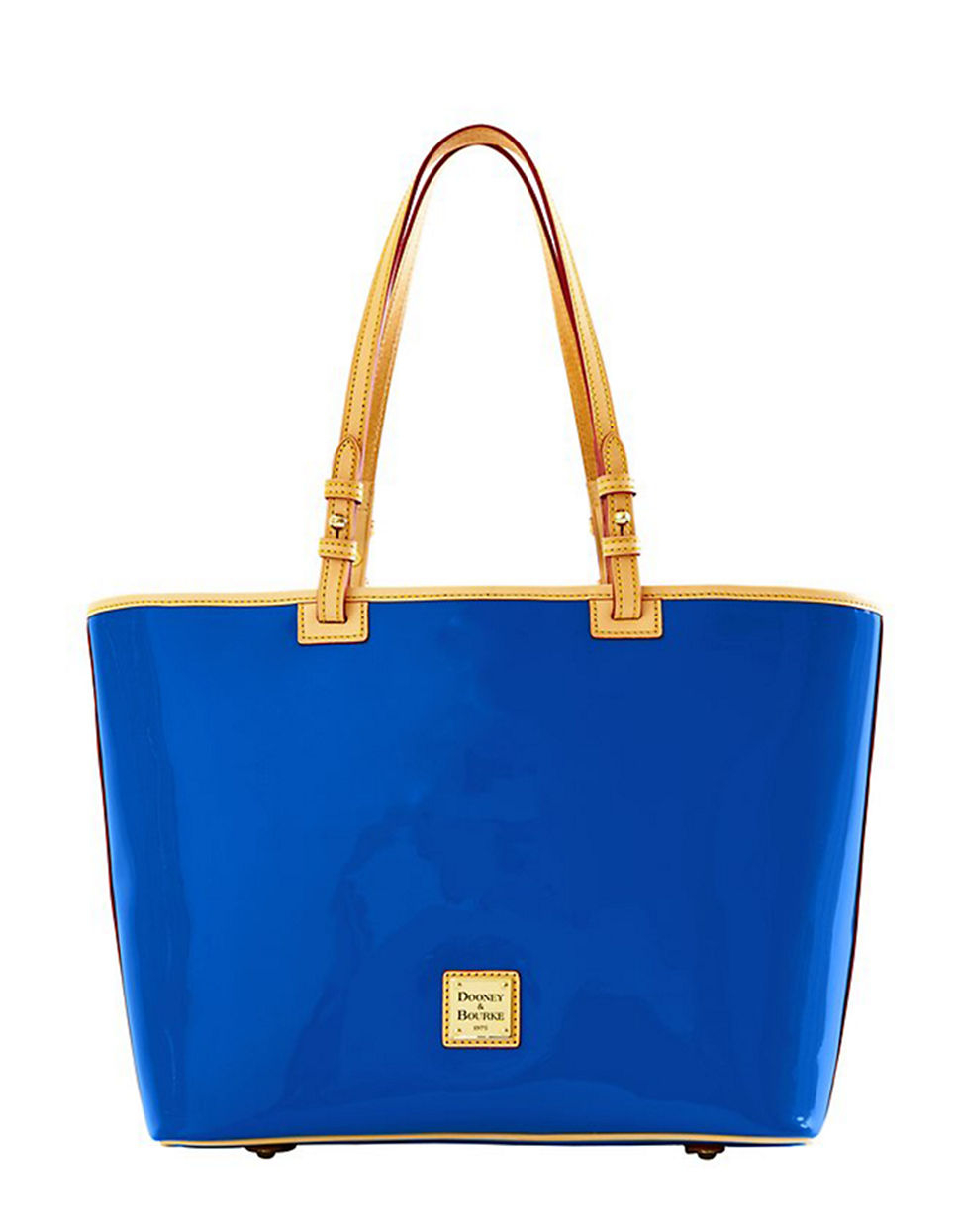dooney bourke patent leather leisure tote bag in blue lyst