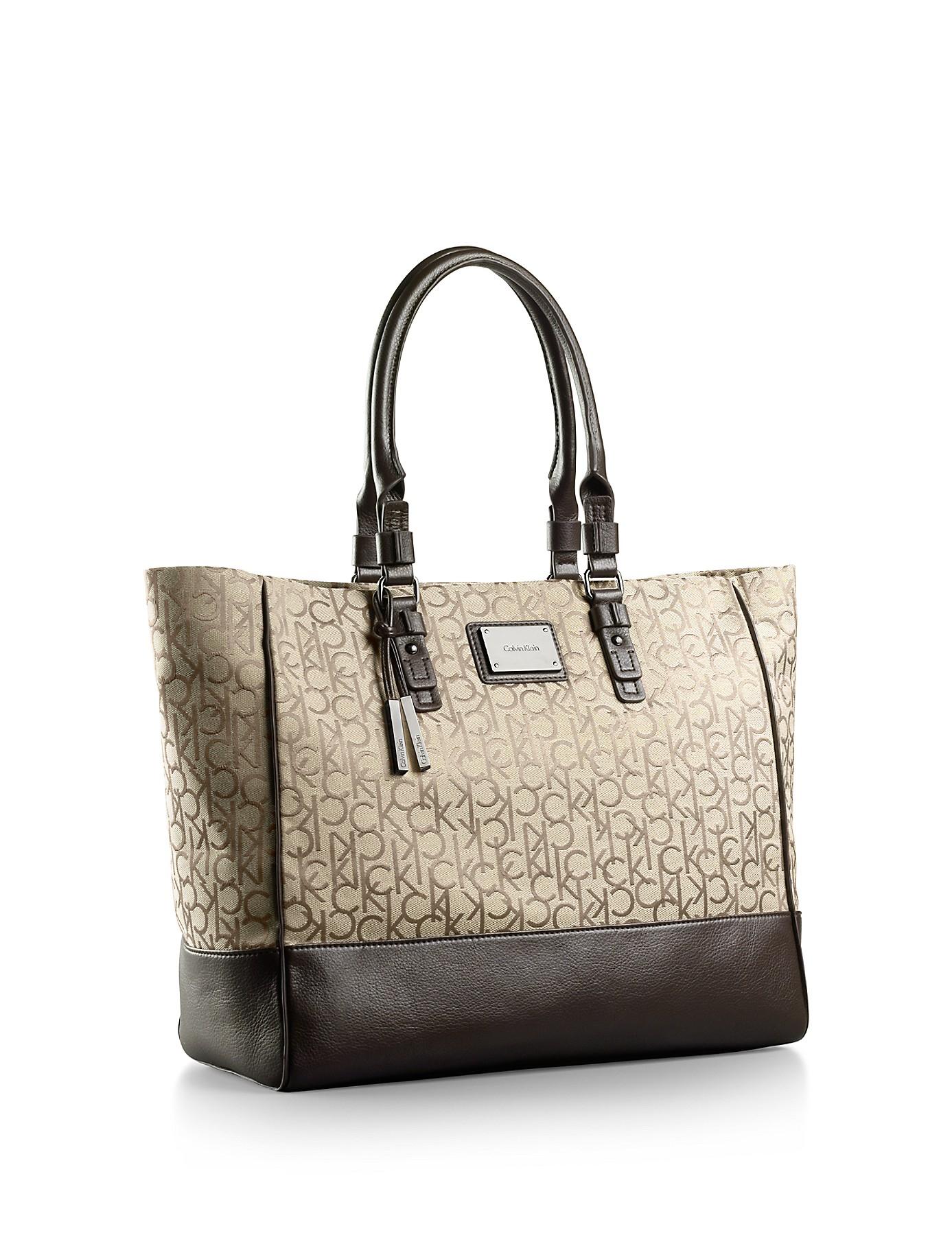 Calvin klein White Label Logo Jacquard Fabric Shopper Tote Bag in ...