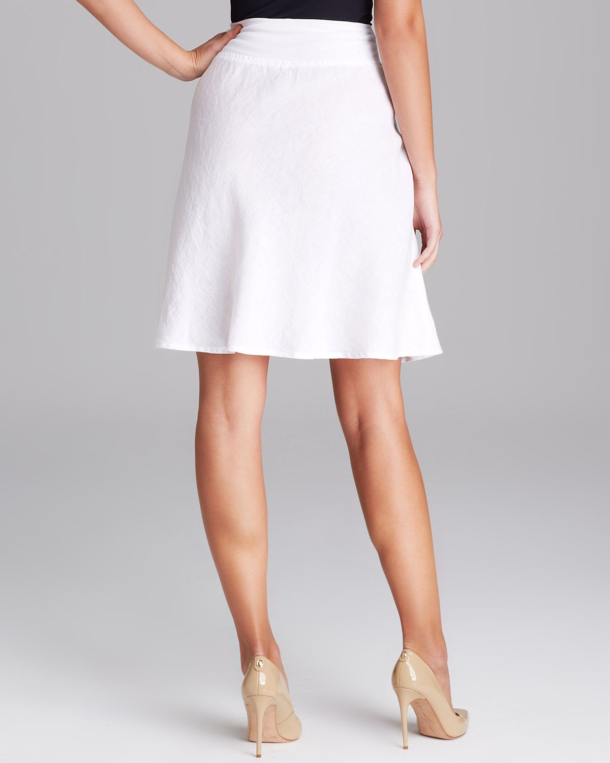 Three dots Linen Skirt in White | Lyst