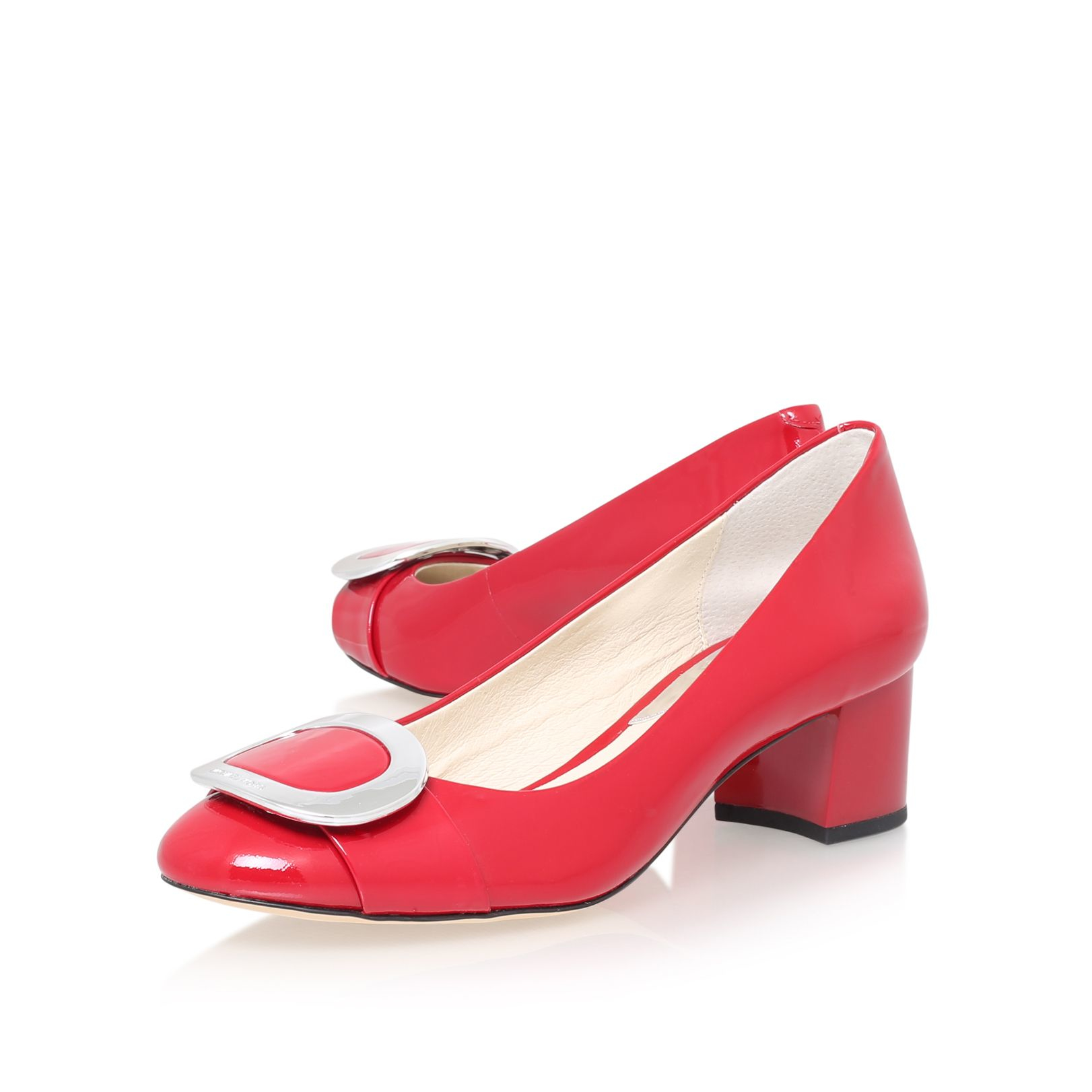 Michael kors Pauline Mid Pump High Heel Court Shoes in Red | Lyst