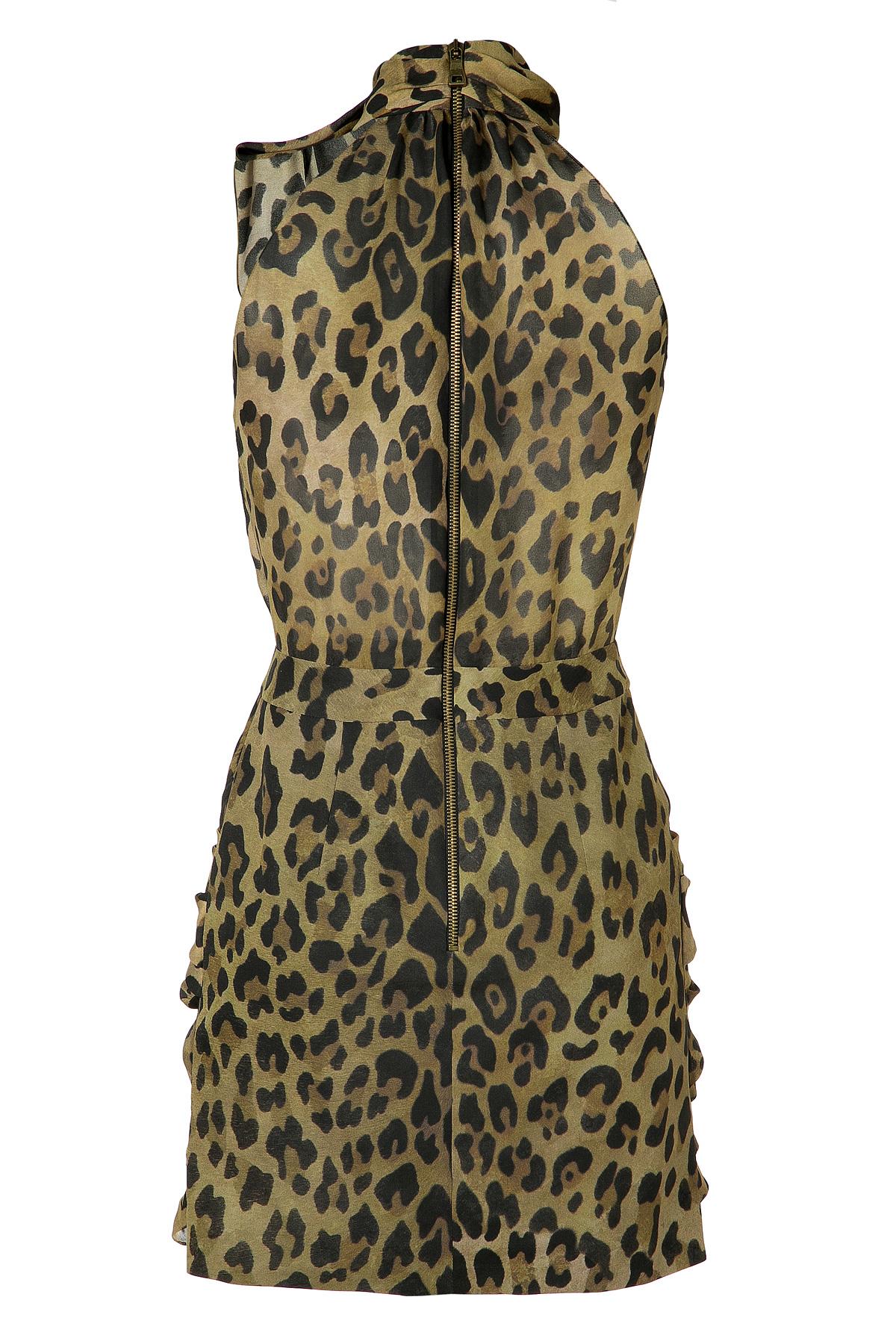 Balmain Silk Leopard Print Cocktail Dress - Lyst