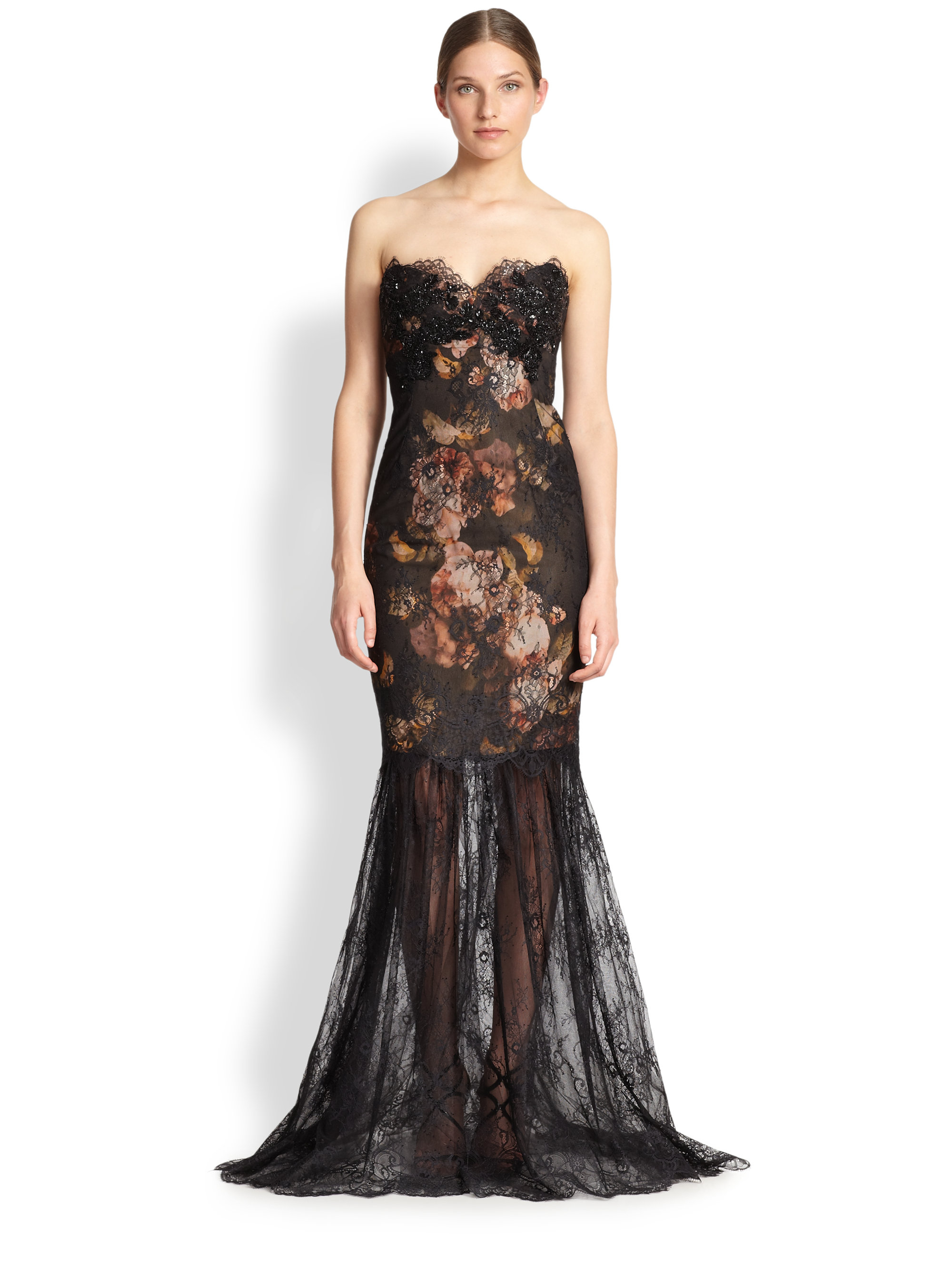 notte by marchesa strapless lace mermaid gown in floral