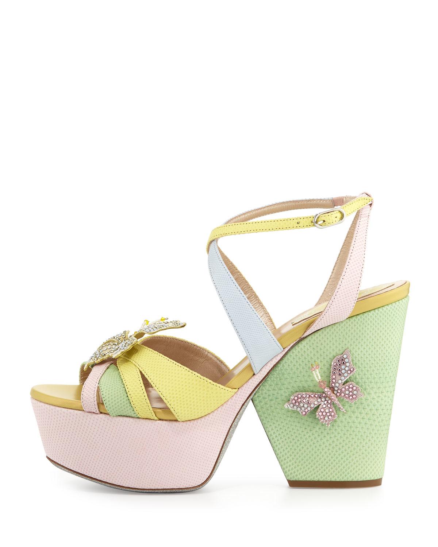 419e20ed7968fd Lyst - Rene Caovilla Butterfly Colorblock Snakeskin Wedge Sandal