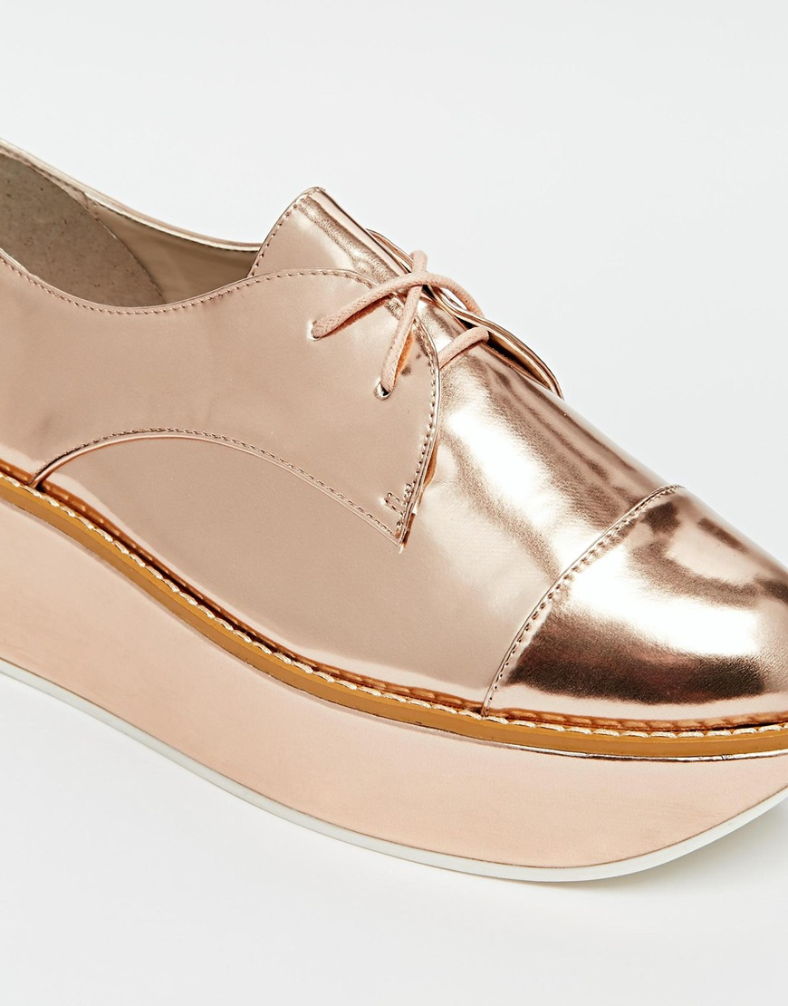 Aldo Quirta Rose Gold Flatform Shoes in Pink | Lyst