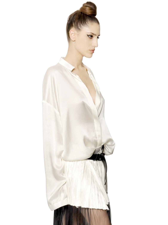 46f49d5fb11 Lyst - Haider Ackermann Oversize Silk Satin Shirt in Natural