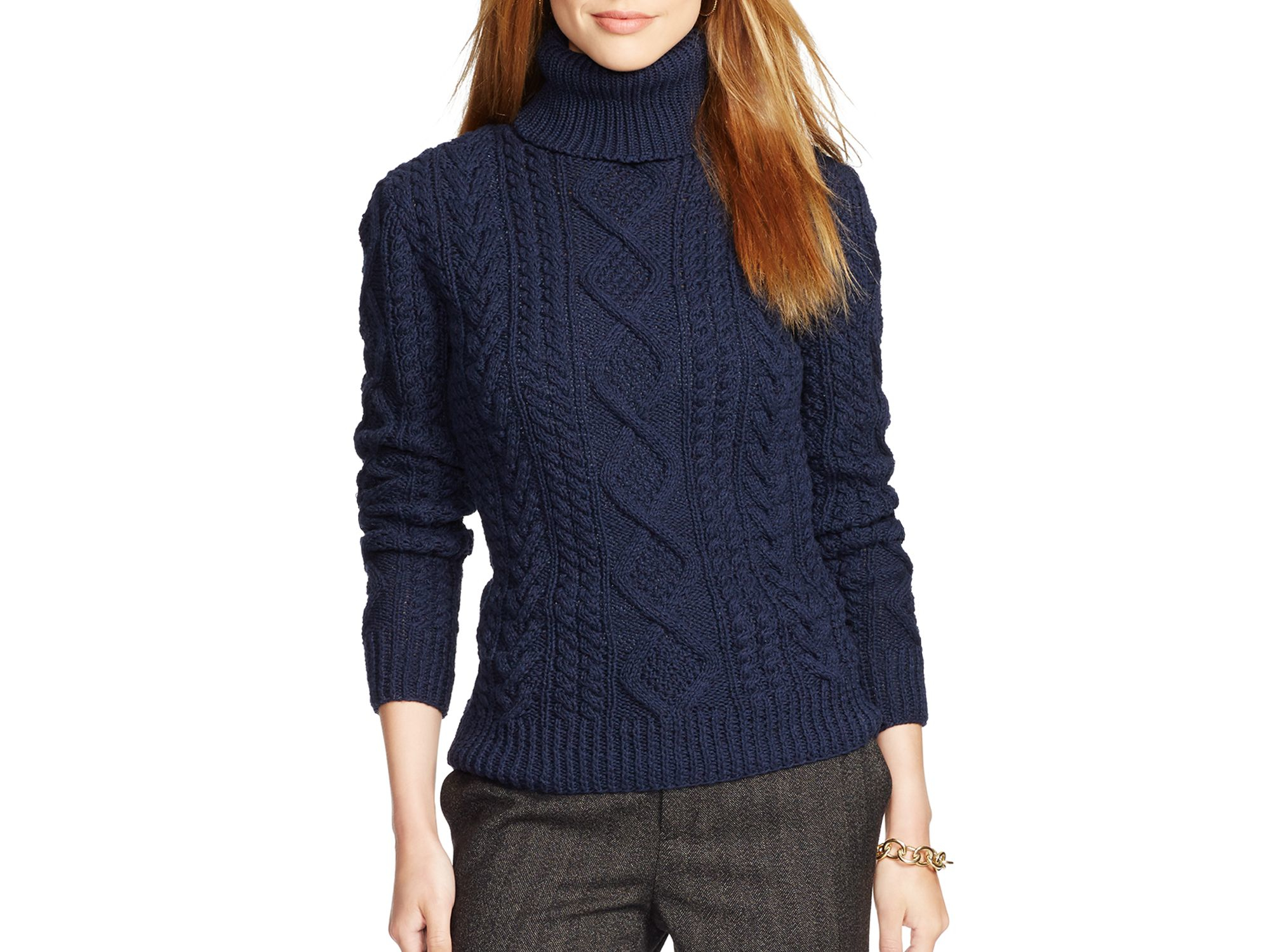 Ralph lauren Lauren Cable Knit Turtleneck Sweater in Blue | Lyst