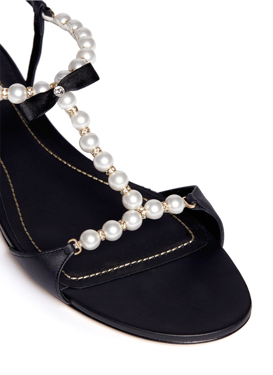 rene caovilla venere pearl crystal strap leather sandals