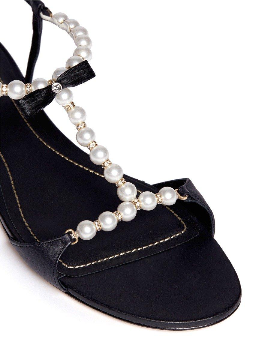 Rene Caovilla Venere Pearl Crystal Strap Leather Sandals