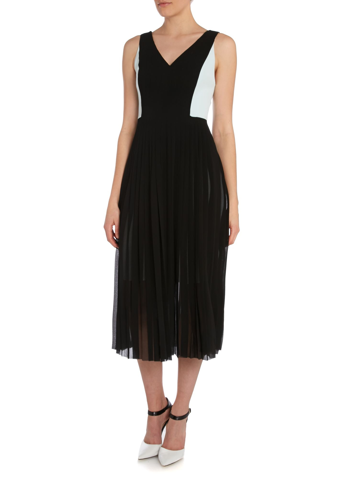 paul smith black label sleeveless dress with pleated skirt