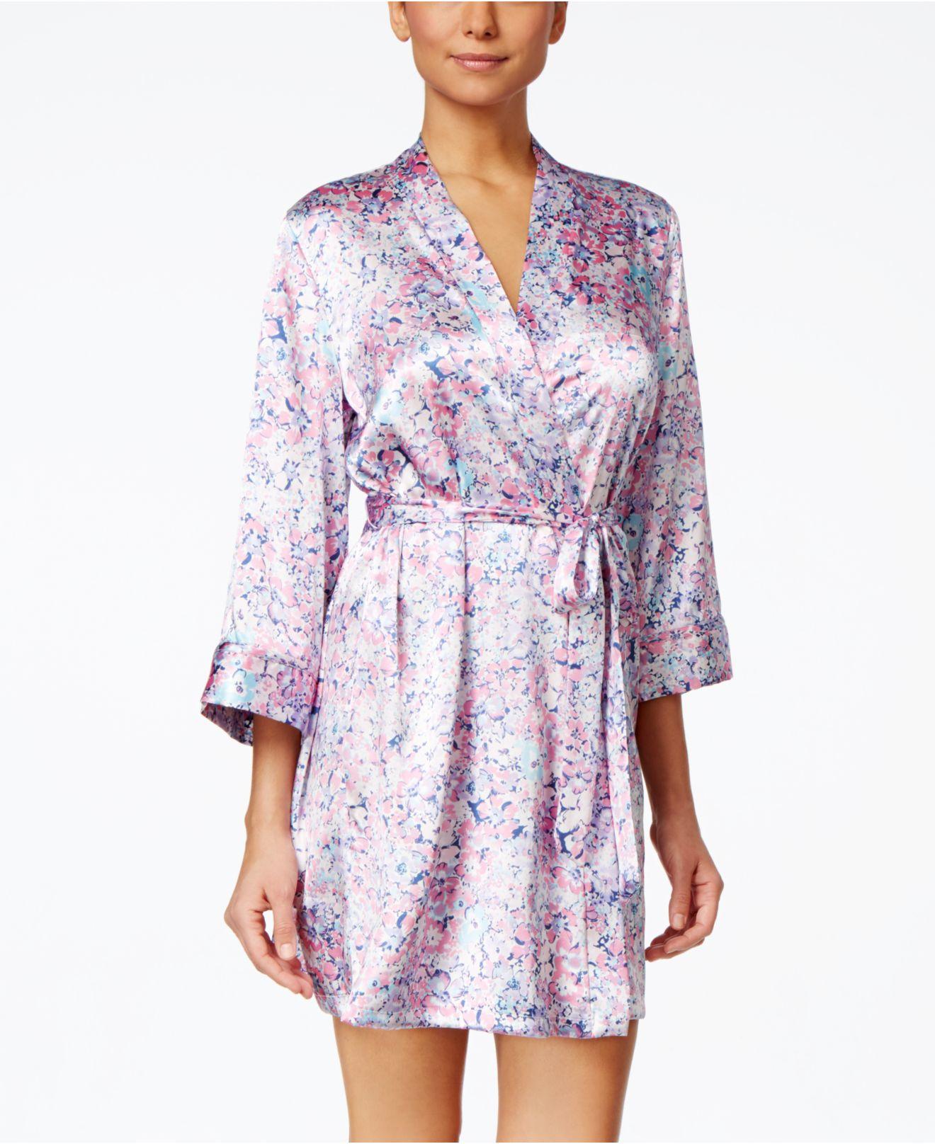 ee05e7797b Lyst - Linea Donatella Floral-print Satin Wrap Robe