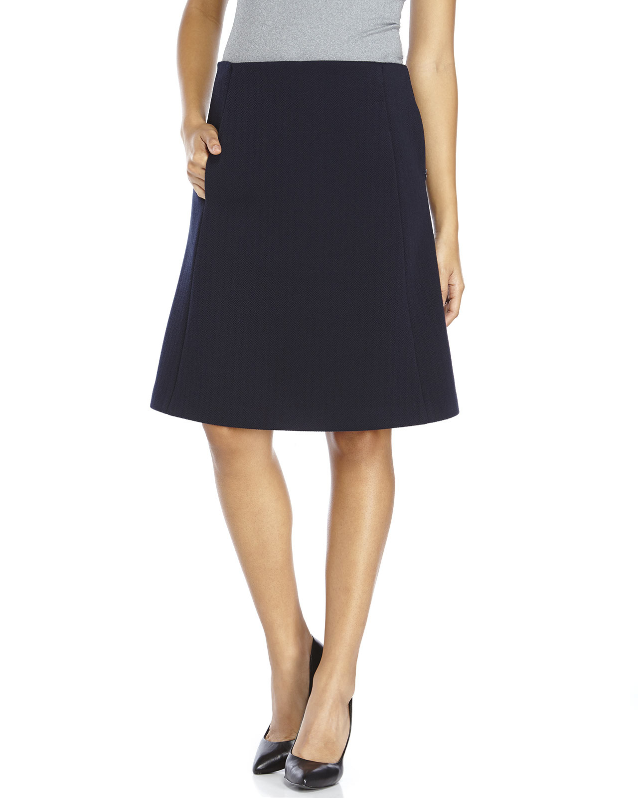 Jil sander navy Herringbone A-Line Skirt in Blue | Lyst