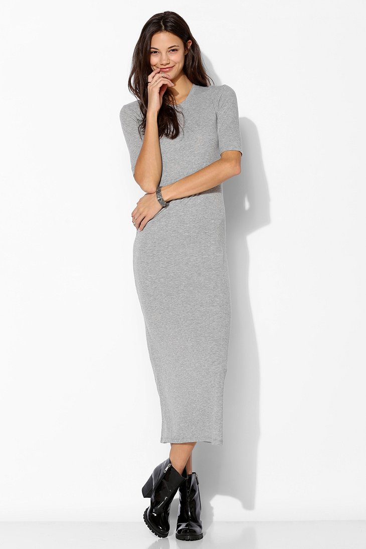 Just female Tomoko Rib Knit Maxi Dress in Gray | Lyst