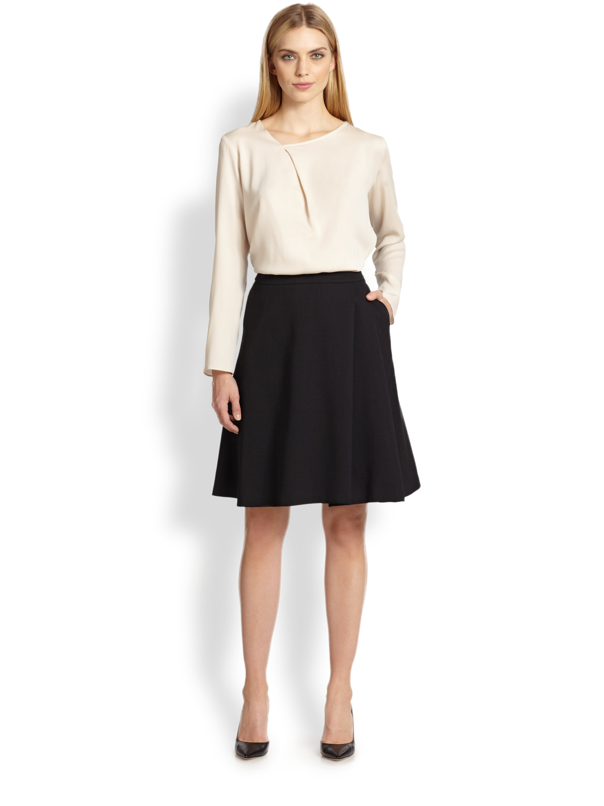 Max mara Wool A-Line Skirt in Black   Lyst