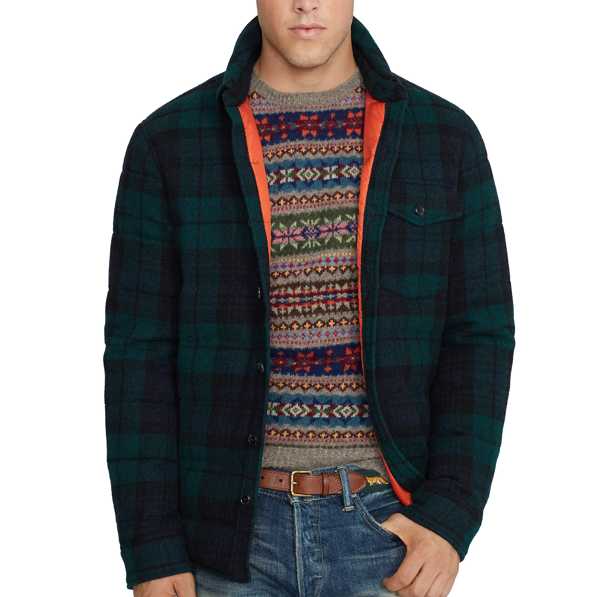 Polo ralph lauren tartan down shirt jacket in green for for Polo shirt with jacket