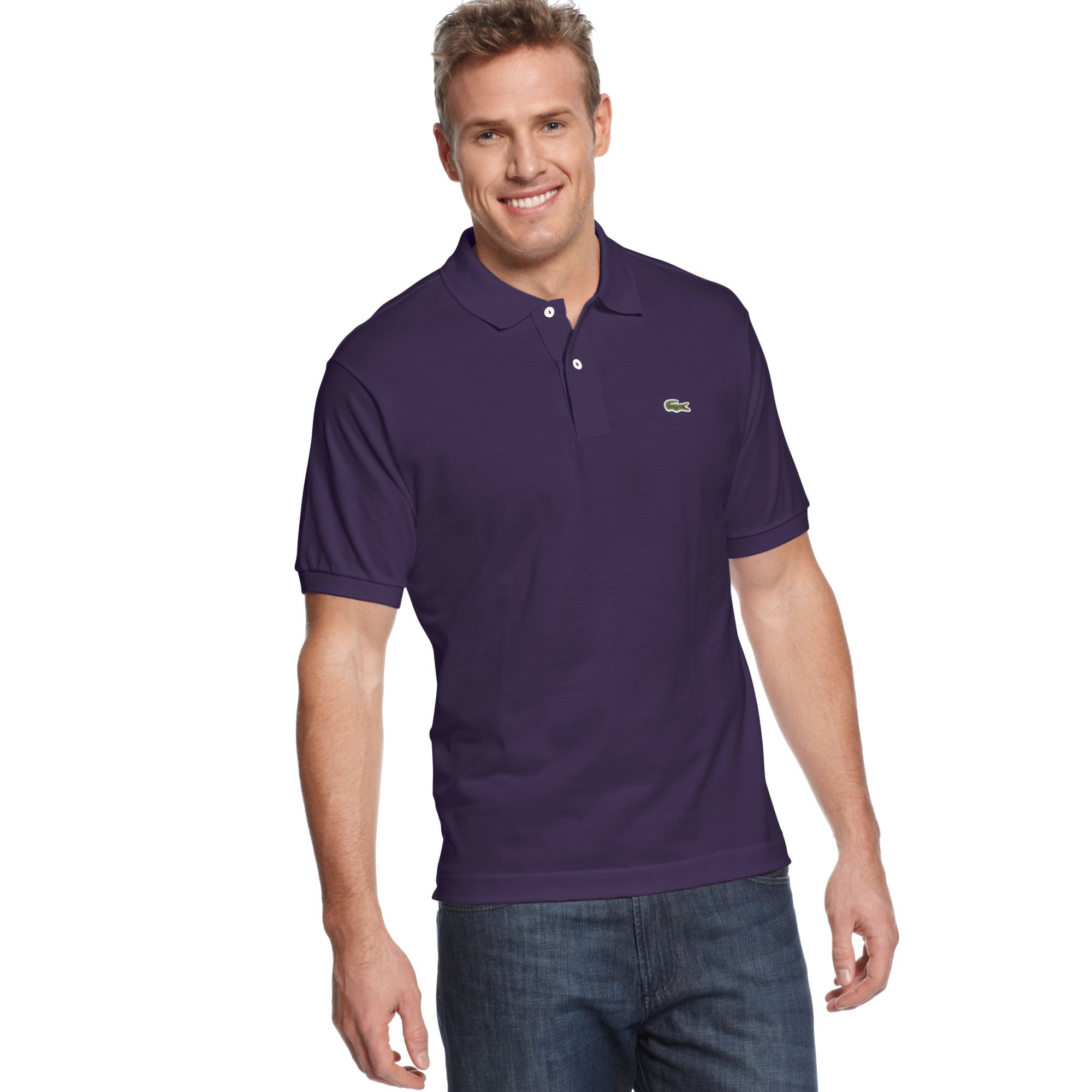 Lacoste classic pique polo shirt in purple for men lyst for Boys lacoste polo shirt