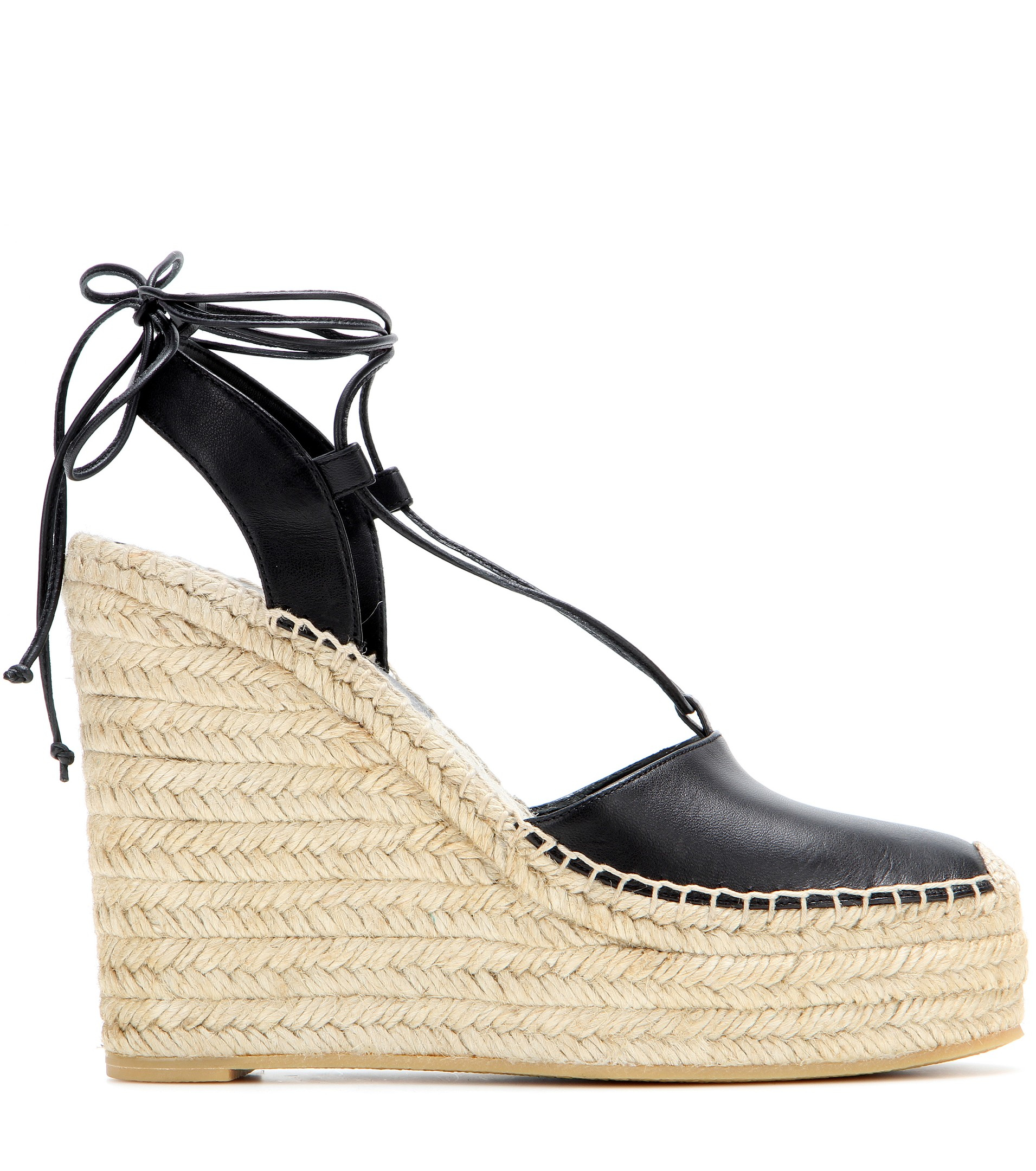 1dd58a8d322 Saint Laurent Leather Espadrille Wedge Sandals in Natural - Lyst