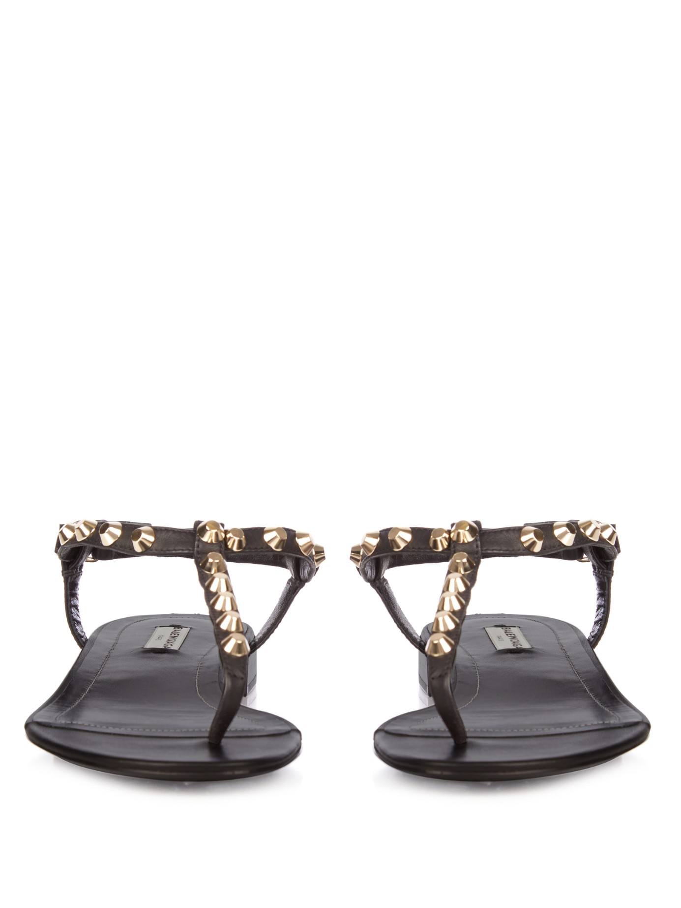 1c508ffbd4336 Lyst - Balenciaga Arena Studded Flat Sandals in Black