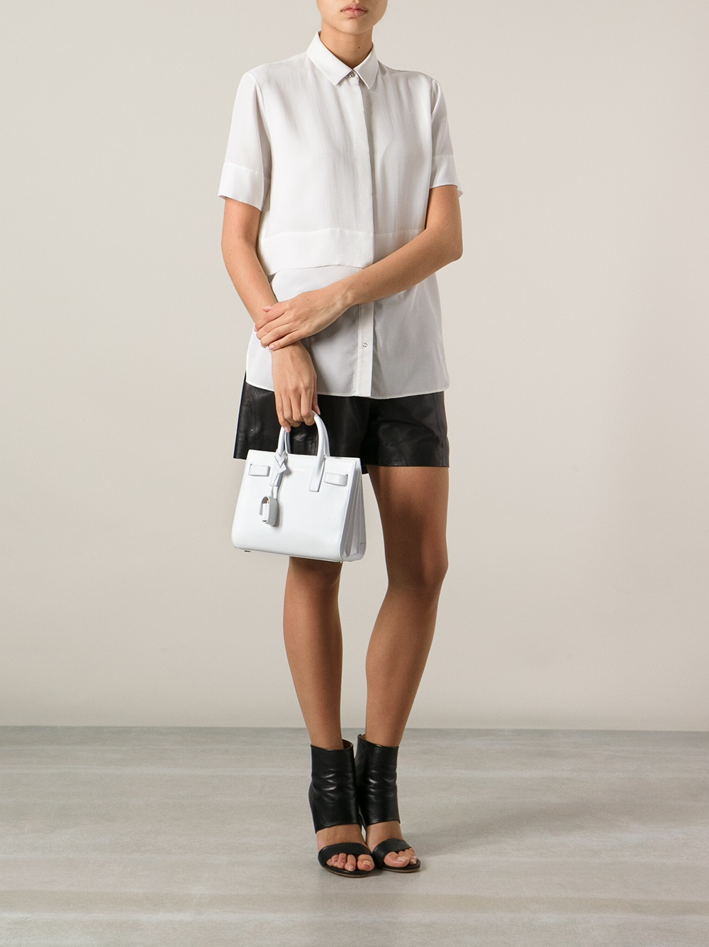 yves st laurent rive gauche shoes - classic baby sac de jour bag in black leather