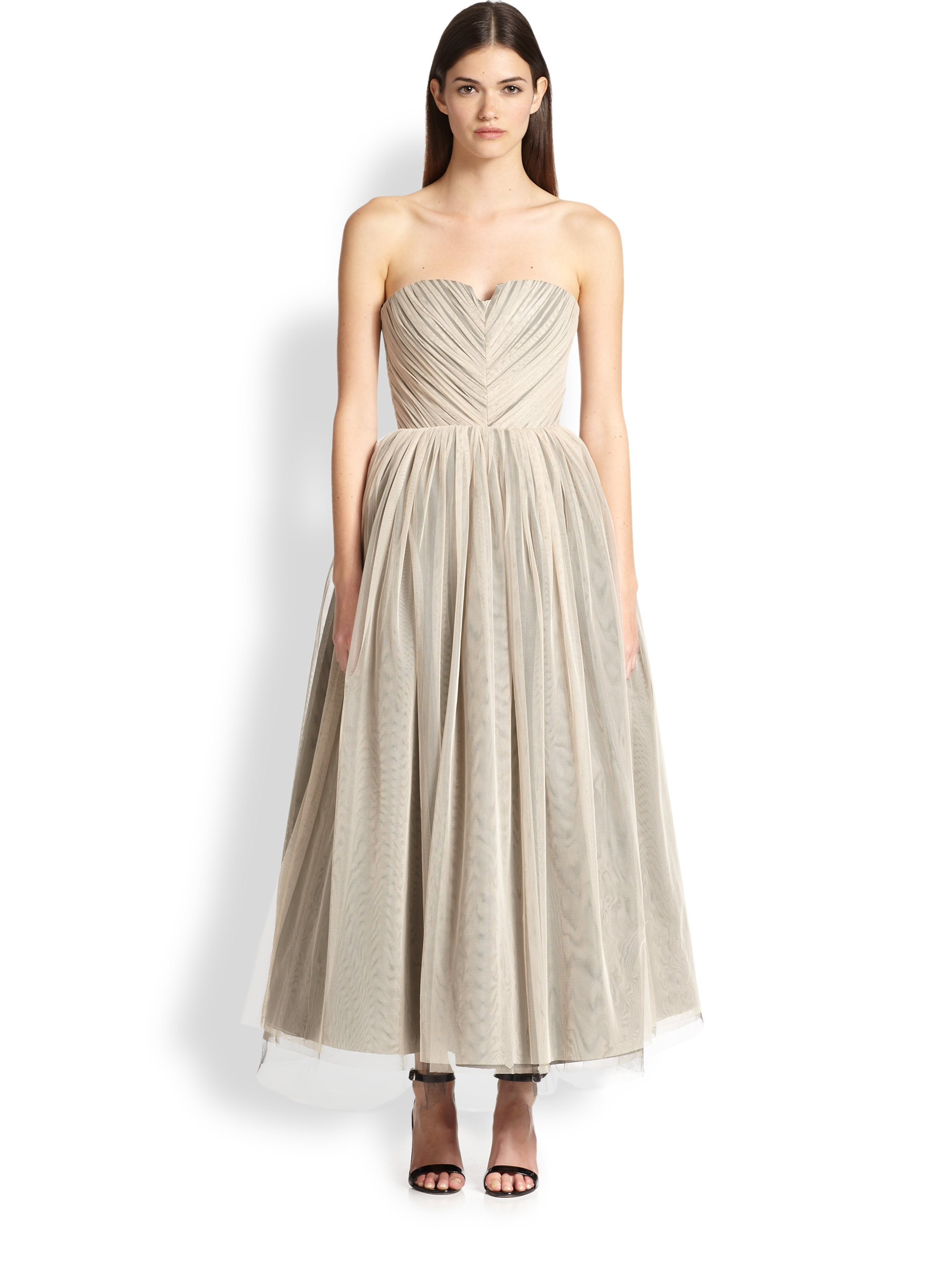 Alice   olivia Kelly Strapless Ruched Tulle Dress in Natural  Lyst