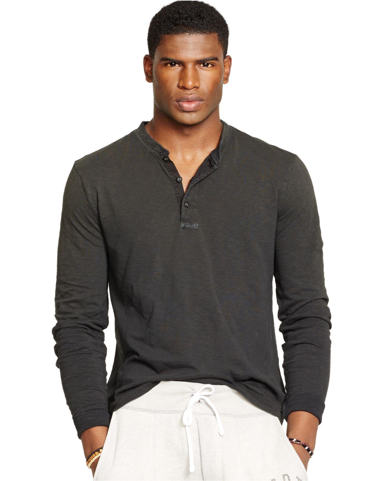 750919b33 ... cheapest lyst polo ralph lauren textured henley shirt in black for men  57783 8af91