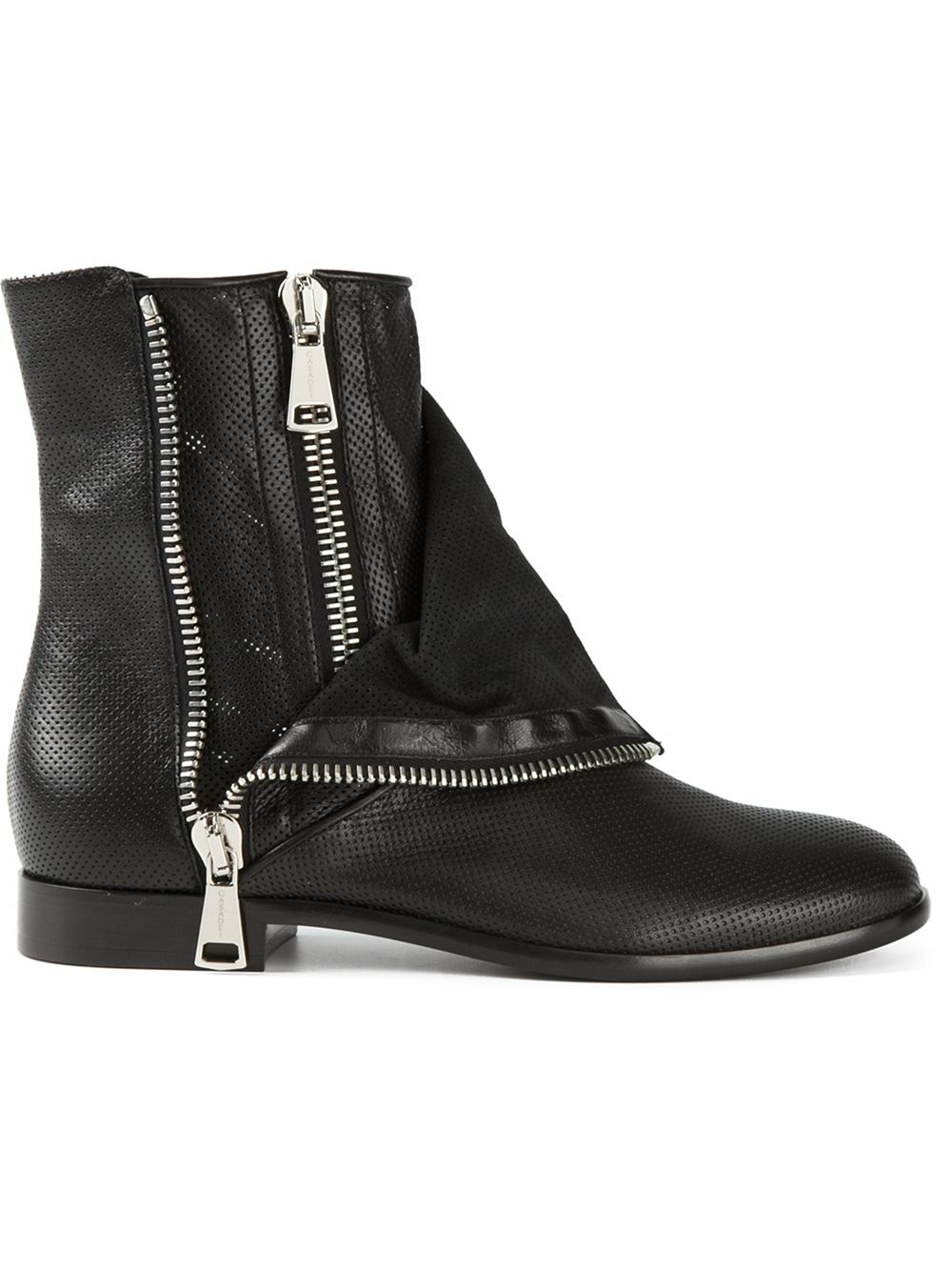 casadei zipper biker boots in black lyst. Black Bedroom Furniture Sets. Home Design Ideas