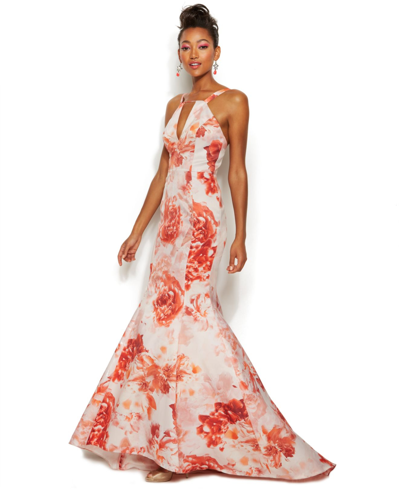 Adrianna papell Rose-print Keyhole Mermaid Gown in Pink | Lyst