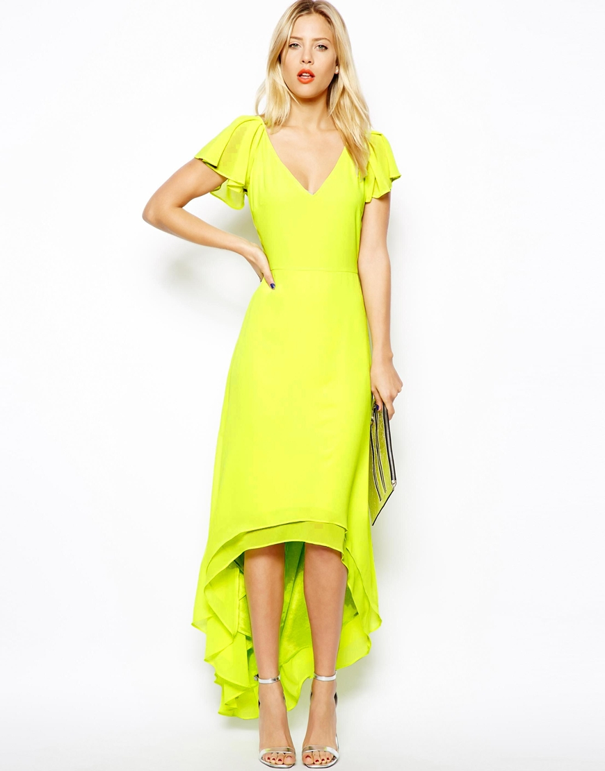 4e187825b1c Lyst - ASOS High Low Hem Maxi Dress in Yellow