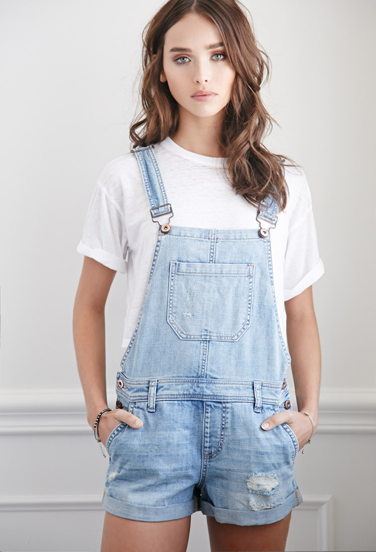 bb4da37c9 Forever 21 Distressed Denim Overall Shorts in Blue - Lyst