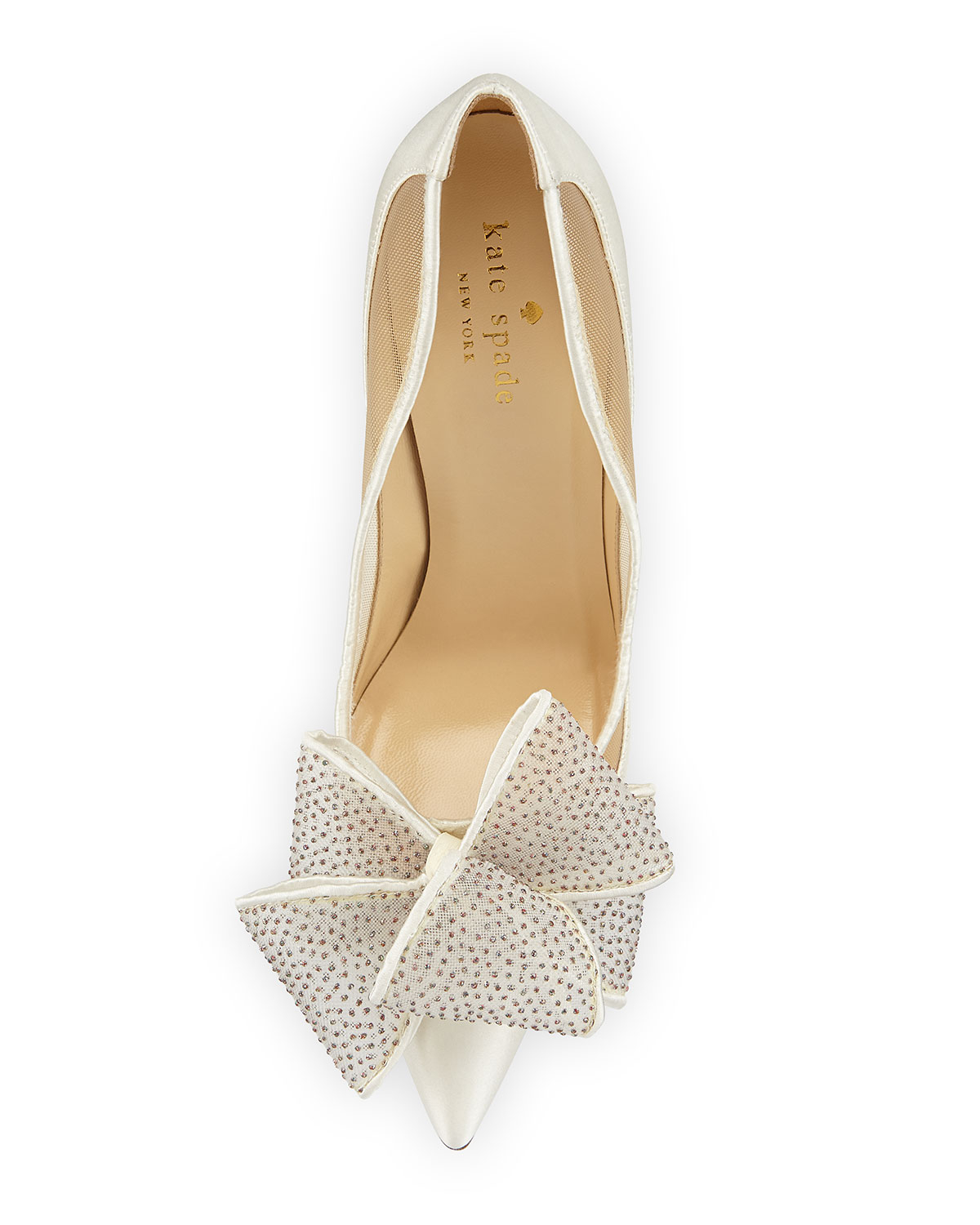 f247467b127c Kate Spade Lovely Satin Bow-Detail Pumps in White - Lyst