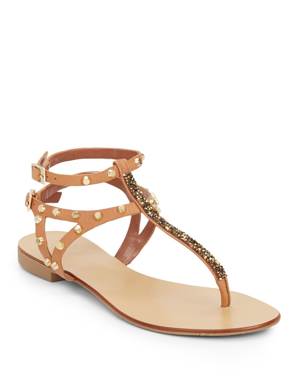cc096a49174 Lyst - Vince Camuto Jemile Embellished Leather Thong Sandals in Natural