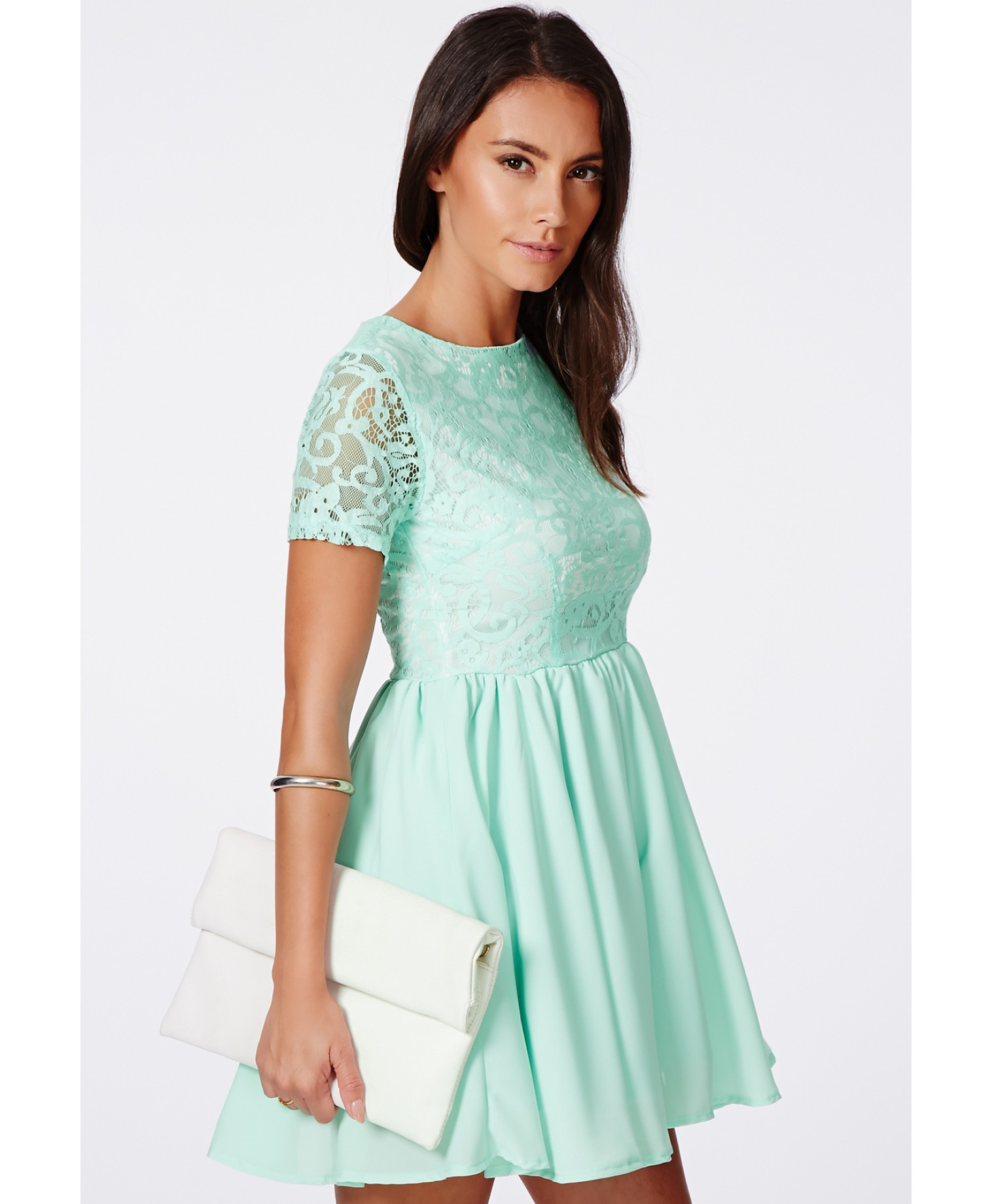Lyst - Missguided Sofitha Mint Lace Puffball Skater Dress in Green