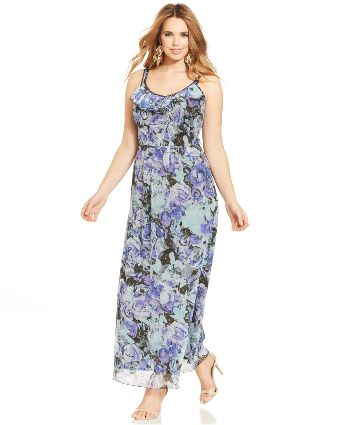 Jessica simpson Plus Size Marta Printed Maxi Dress in Purple | Lyst