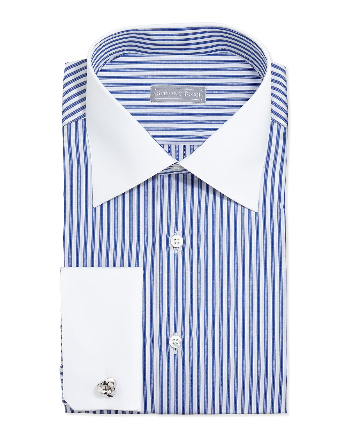 Stefano Ricci Contrast Stripe French Cuff Dress Shirt In