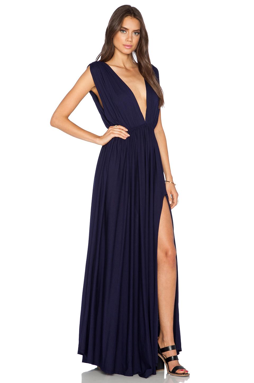 fcc8483d8fc Bobi Modal Jersey Plunge Neck Maxi Dress in Black - Lyst