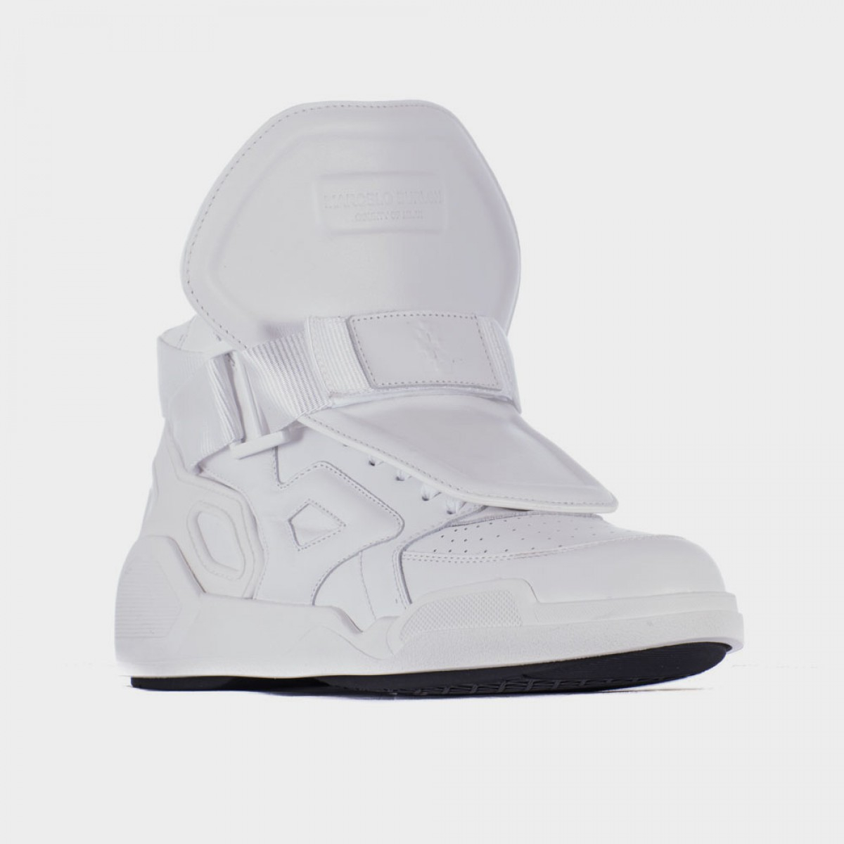 marcelo burlon paneled leather high top sneakers in white