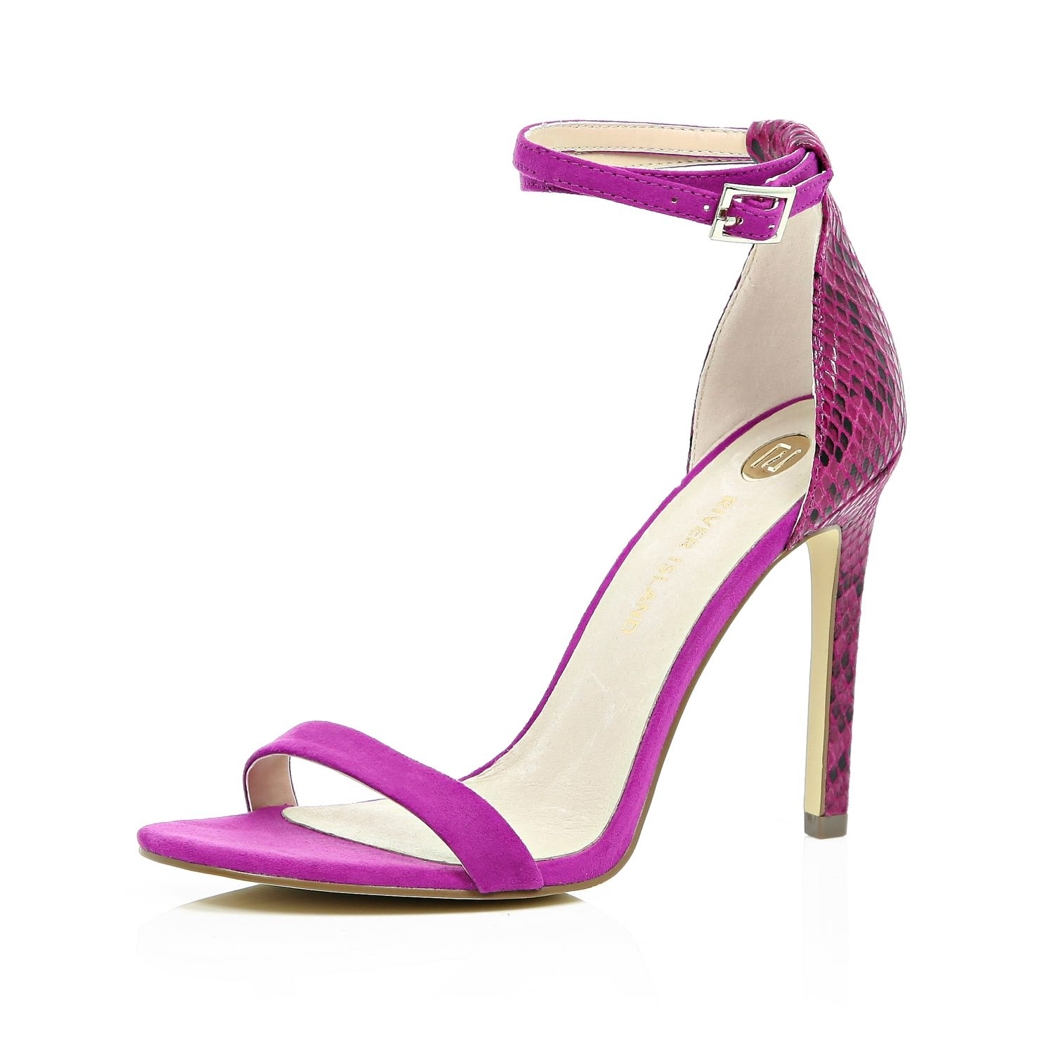 River island Bright Pink Barely There Sandal Heels in Pink | Lyst