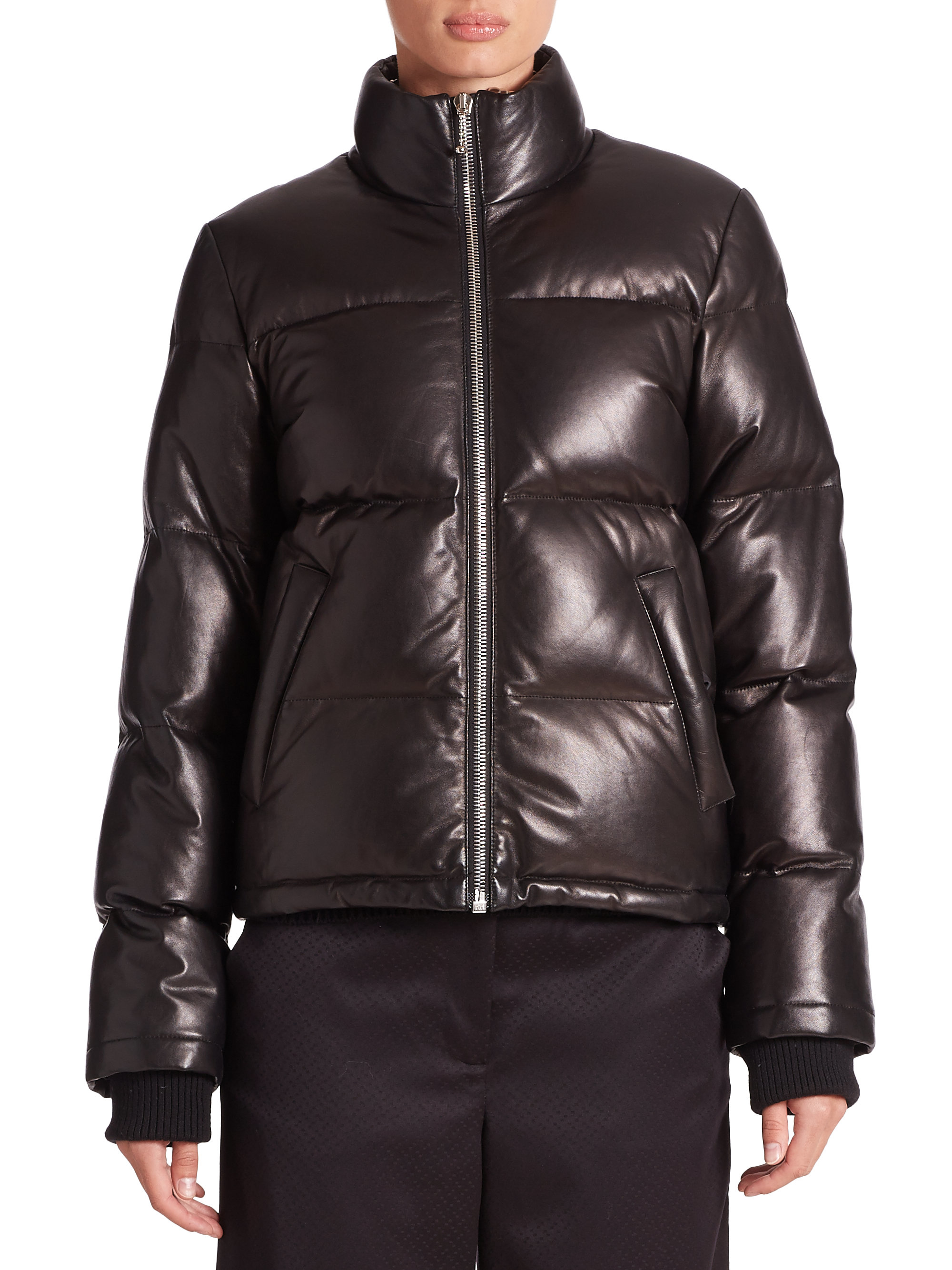 Lyst Alexander Wang Leather Puffer Jacket In Black