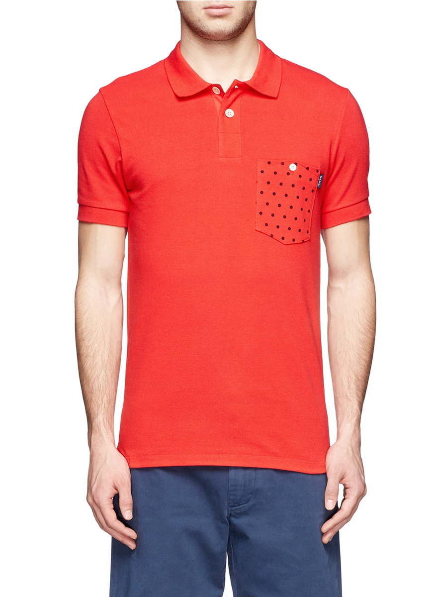 Paul smith polka dot pocket cotton polo shirt in red for for Men s cotton polo shirts with pocket