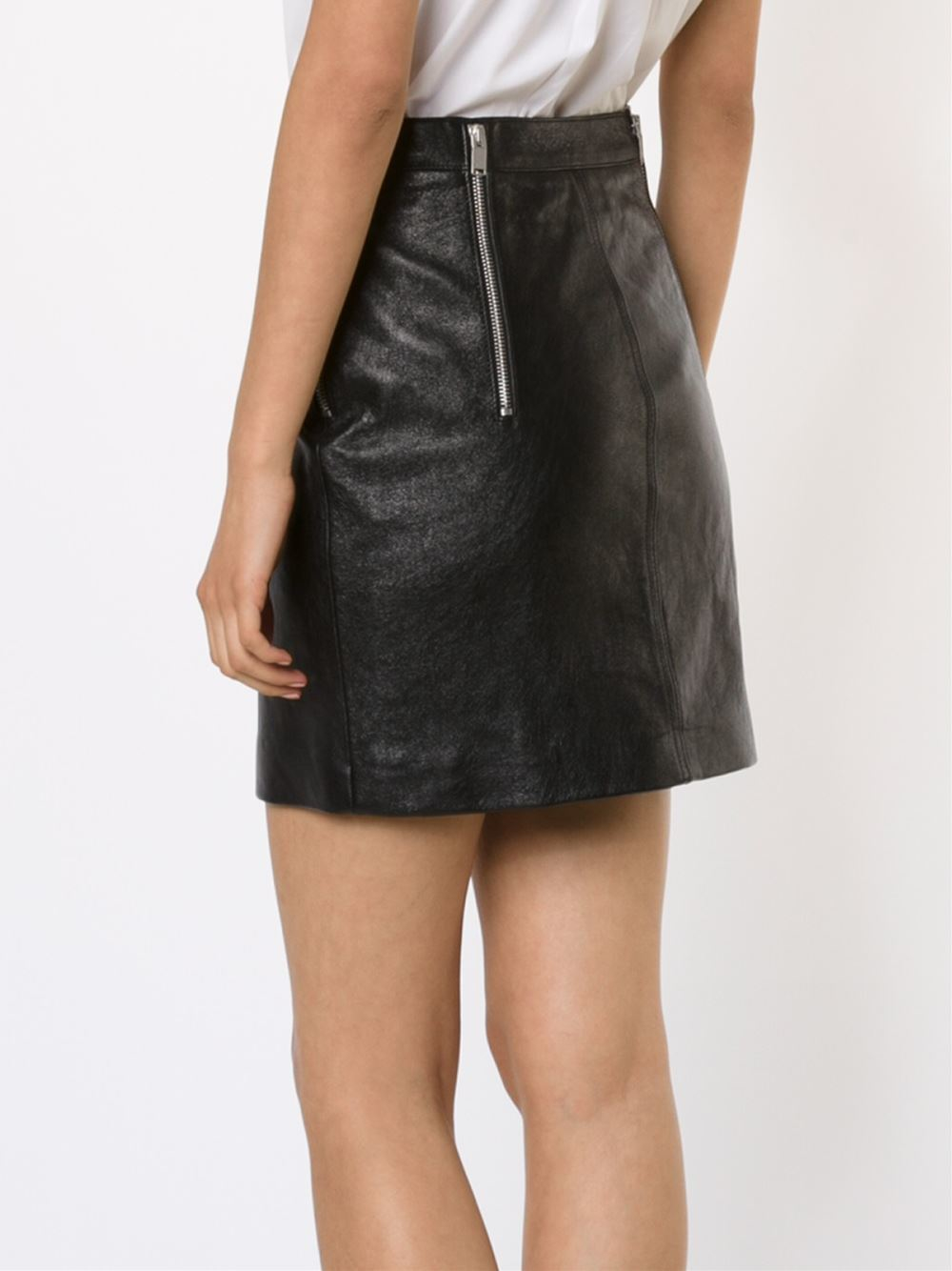 laurent leather mini skirt in black lyst