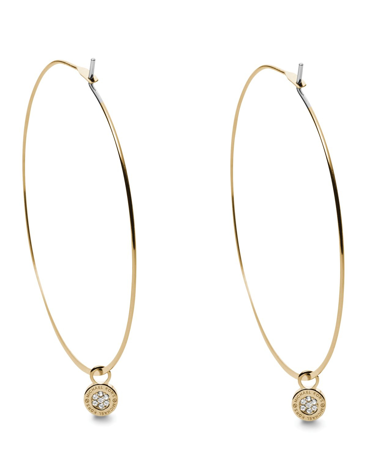 michael kors gold hoop earrings lyst michael kors whisper pave charm hoop earrings in 9013