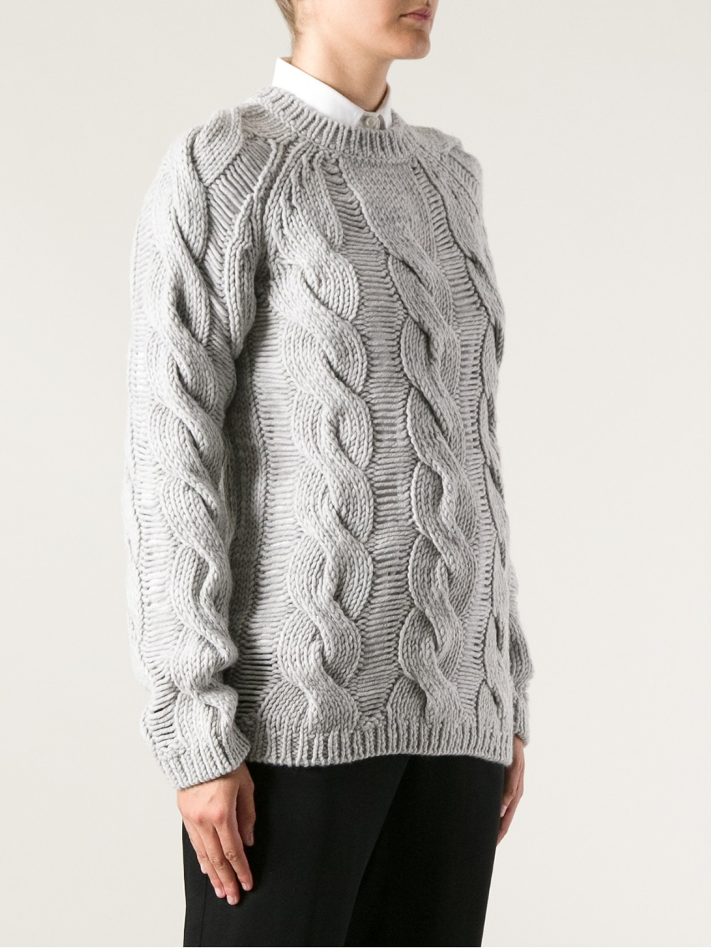 Carven Cable Knit Sweater In Gray Lyst