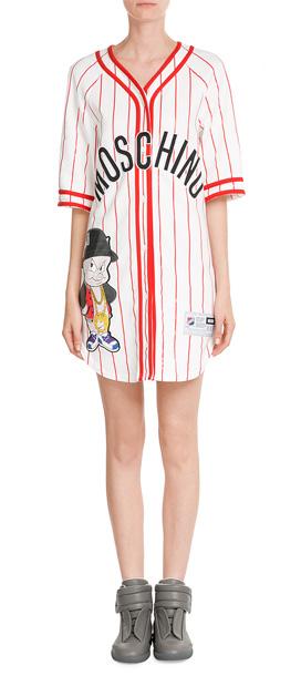 Moschino baseball jersey t shirt dress multicolor lyst for Baseball jersey shirt dress