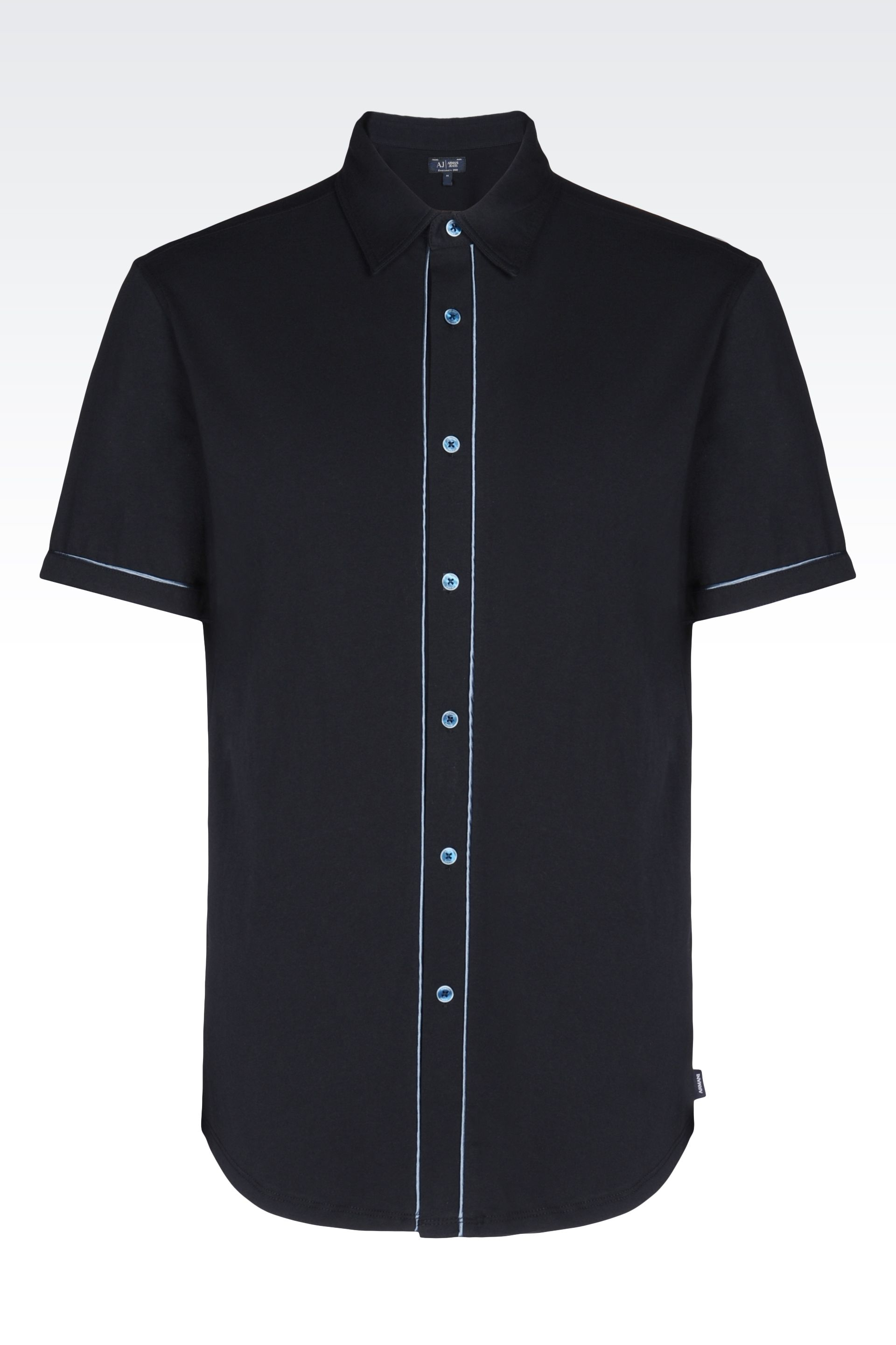 armani jersey shirt in black for lyst